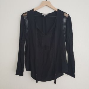 Joseph A. Boho Black Long Sleeve Top